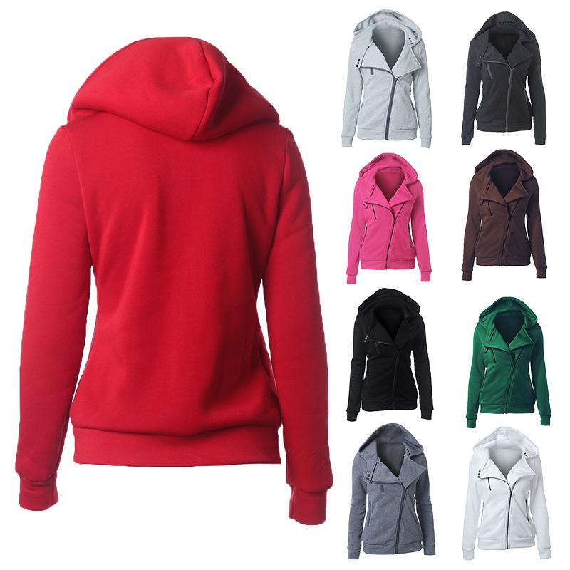 New Women Slim Fit Zip Up Top Hoodie Hooded Sweatshirt Coat Jacket Outdoor Sport Sweater Jumper