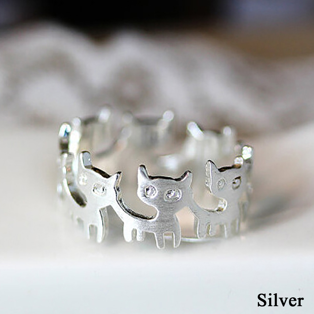 Women Lovely Fashion Connect Cat Animal Ring Copper/Silver Jewelry Accessories Gifts Hot Sale