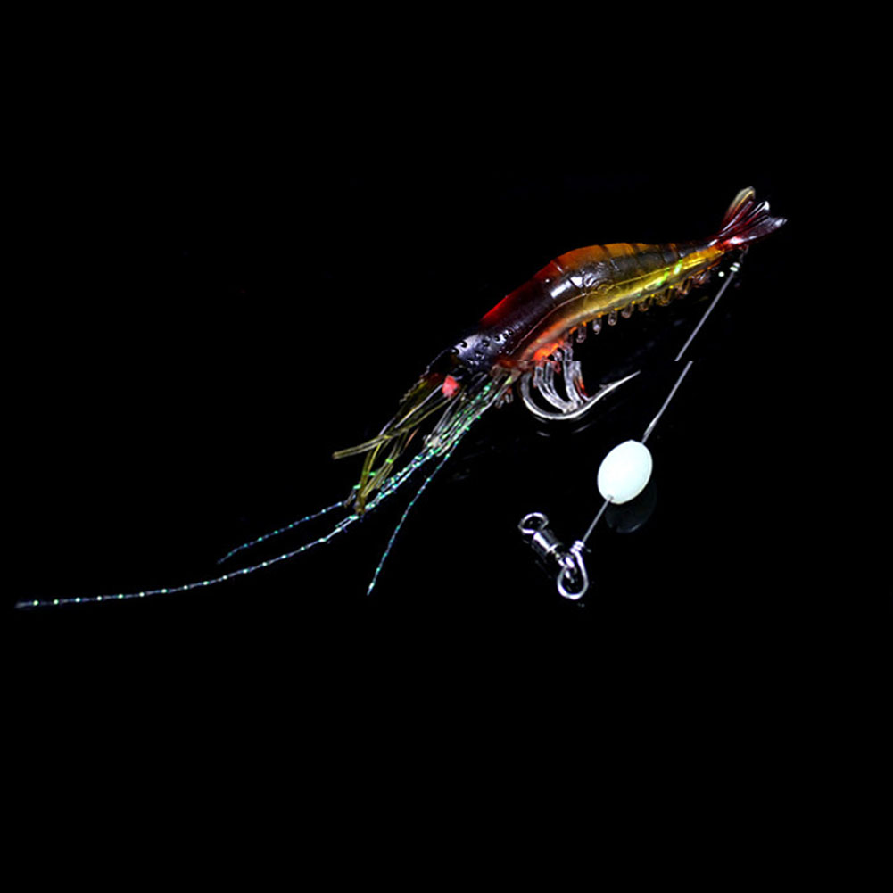 Night light shrimp with hook Soft Prawn Lure Hook Bait Fishing Simulation Noctilucent