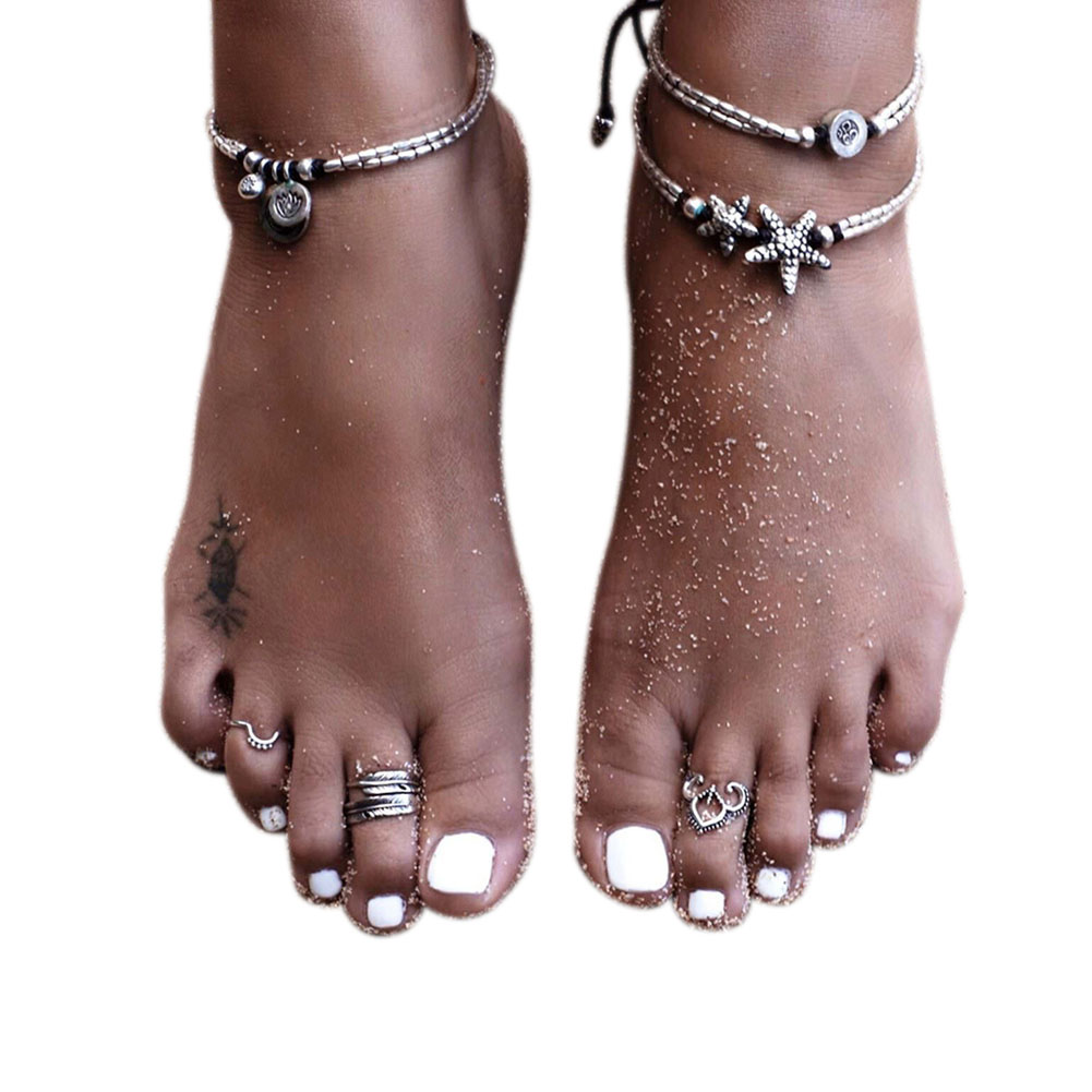 Fashion Boho Starfish Rune Beads Double Layer Chain Anklet Summer Beach Barefoot Sandals Charm Foot Yoga Jewelry