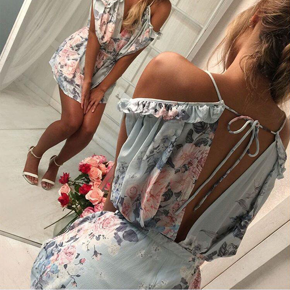 Febelle Women Deep V-neck Sexy Floral Playsuit Short Mesh Summer Beach Club Playsuit Dress