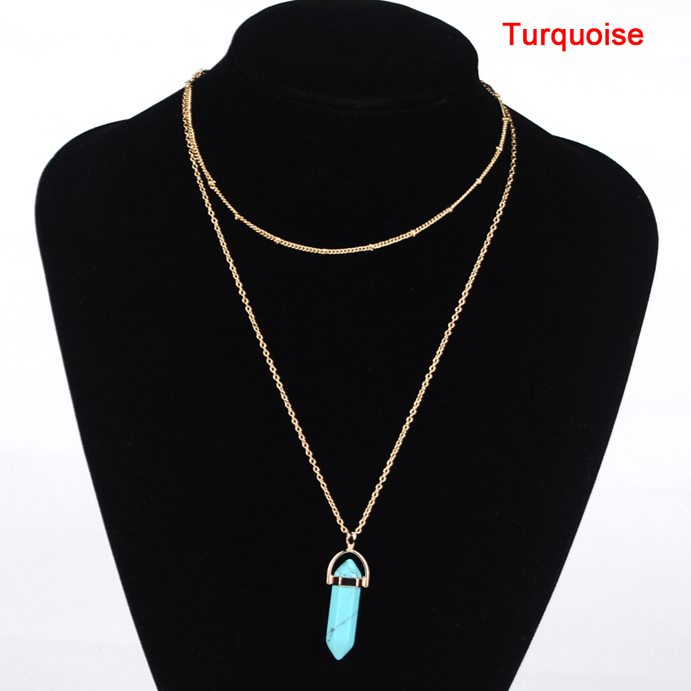 Fashion Crystal Opal Natural Stone Quartz Pendants Necklace Double Layer Choker Collar Jewelry