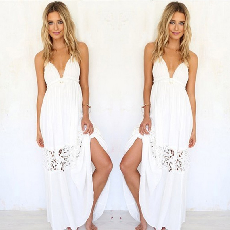 6229322e9c2 Sexy Women Summer Boho Lace Long Maxi Evening Party Beach Dresses Sundress  ...