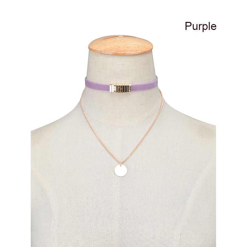New Velvet Punk Choker Collar Gold Sequins Pendant Multilayer Chain Necklace Women Gothic Jewelry