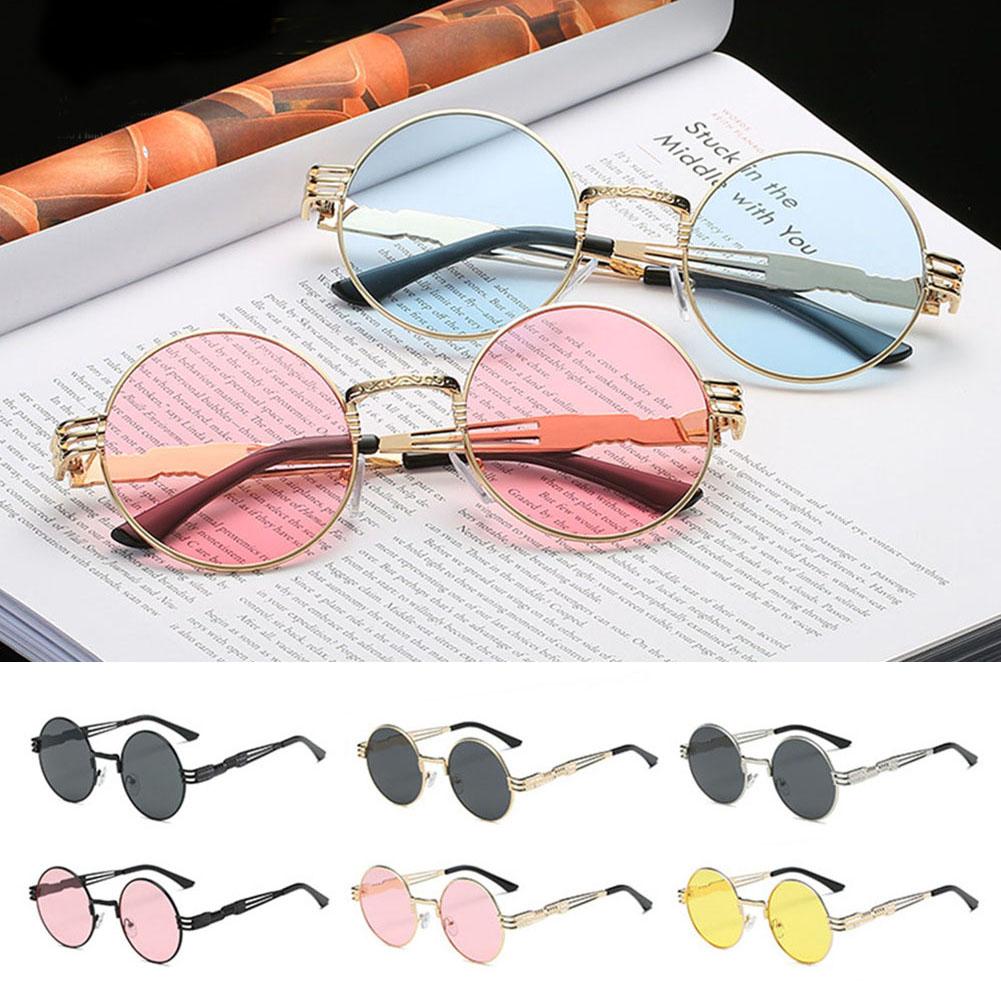 New Fashion Silver Gold Metal Frame Ocean Mirror Small Round Sunglasses Men Women Cheap High Quality UV400