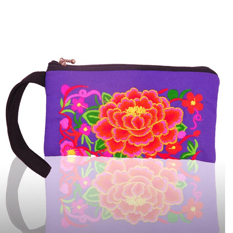 New Hot Purse Handmade Ethnic Peony Flowers Embroidery Women Long Wallet HandBag
