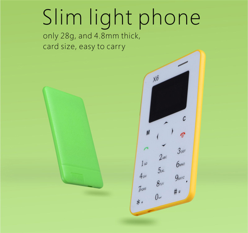 AIEK X6 Ultra Thin OLED Mini Pocket GSM Bluetooth Card Mobile Phone