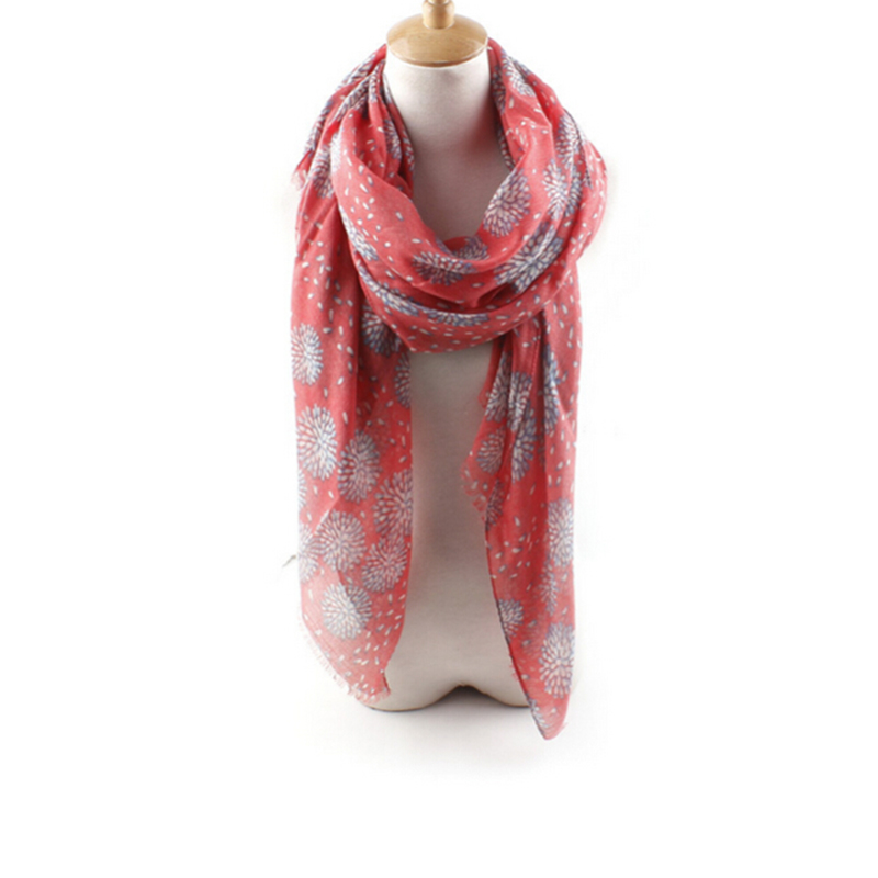 Country Style Women Long Cotton Gorgeous Firework Print Scarf Shawl Wrap Warm