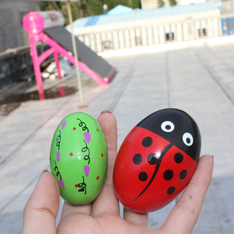 Wooden Sand Eggs Children Kids Educational Instruments Musical Toy Random