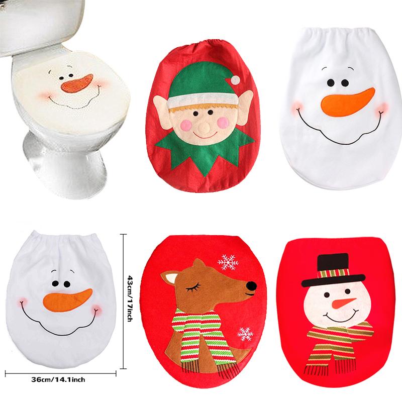 Christmas Snowman Santa Claus Toilet Seat Cover Toilet Lid Xmas Ornaments