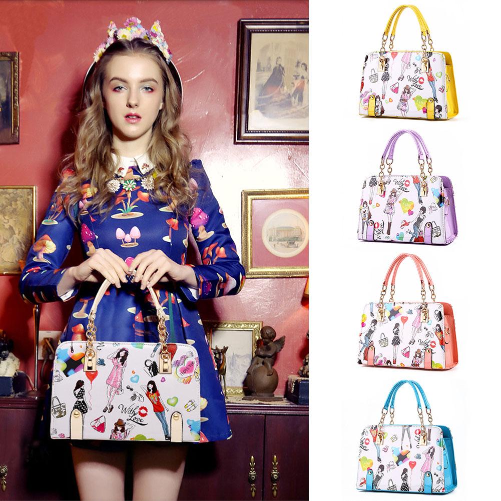 Fashion Women's PU Handbag Tote Trendy Bags Messenger Bag Cartoon Chain