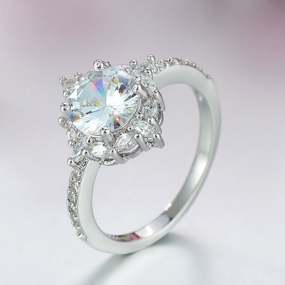 Big Shinning Diamond Zircon Crystal Ring Natural Gemstone White Sapphire Birthstone Bride Engagement Wedding Ring