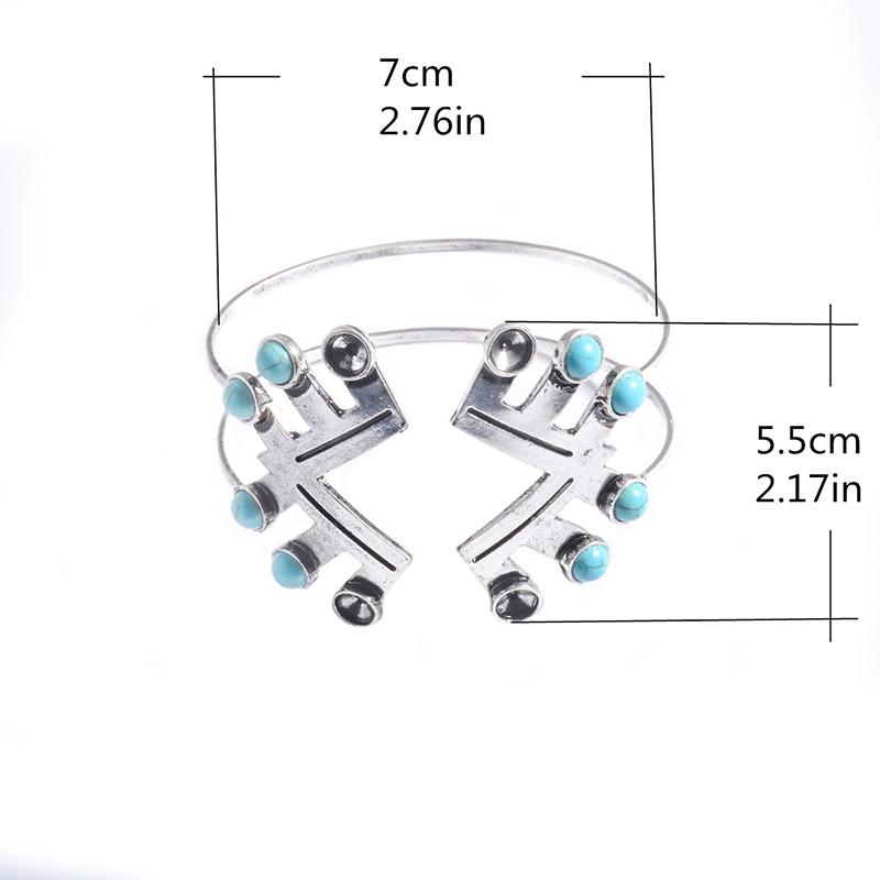 Women Boho Gypsy Silver Plate Bracelets Turquoise Gem Stone Cuff Bangle Jewelry Style 1#
