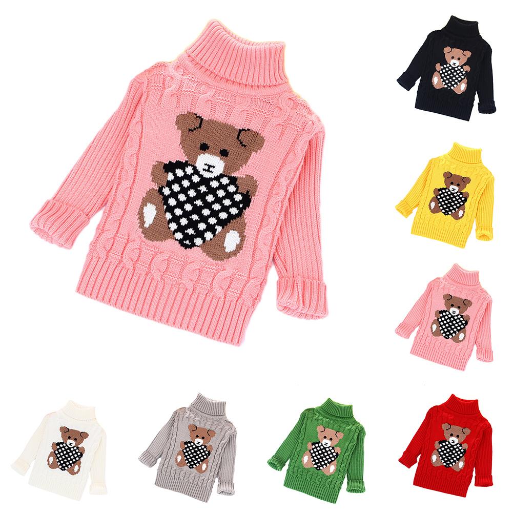 5ad1ac78a Baby sweaters for girls boys kids autumn winter warm cartoon bear ...