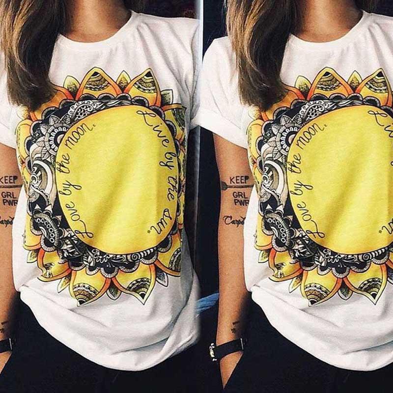 Casual Womens Short Sleeve Sunflower Printed Tops Blouse T-Shirt Tee