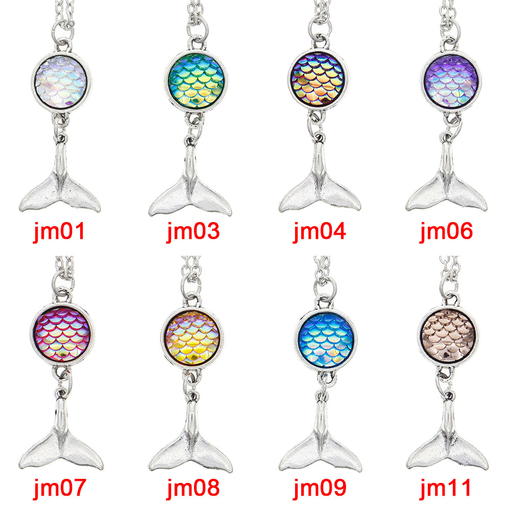 Fashion Creative Charm Mermaid Scales Whale Tail Fish Pendant Necklace Colorful Crystal Girls Jewelry