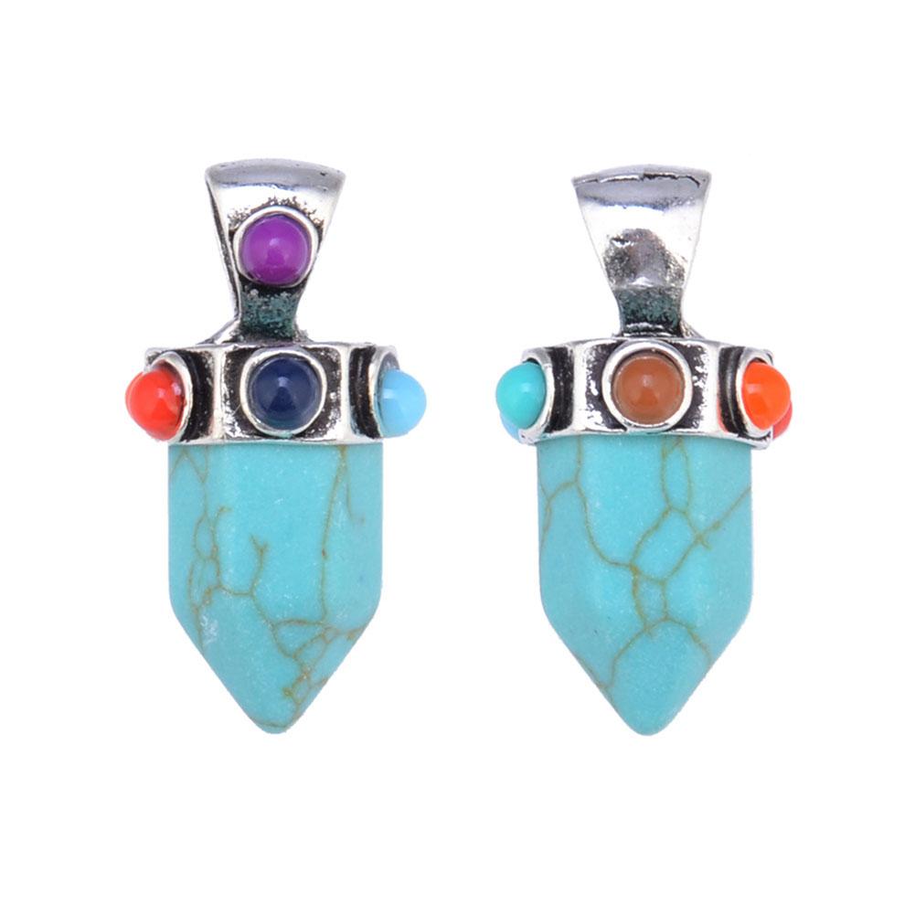 Fashion Natural Gemstone Crystal Stone Chakra Healing Reiki Pendant For DIY Necklace Jewelry Making
