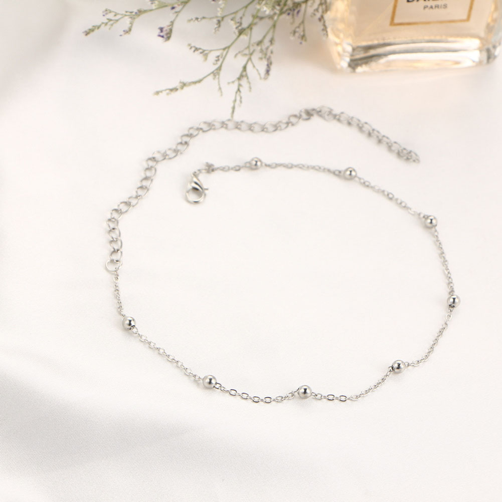 Women Fashion Simple Copper Round Beads Collar Choker Necklace Gold/Silver Jewelry Accessories
