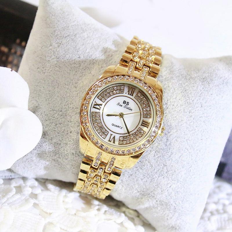 New Fashion Rhinestone Crystal Stainless Steel Dial Quartz Women Dress Bracelet Watch