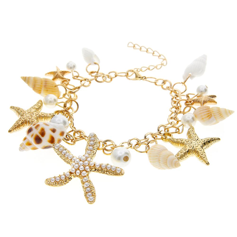 Women Fashion Sea Shell Starfish Faux Pearl Pendant Gold Bracelet Bib Statement Jewelry Gift