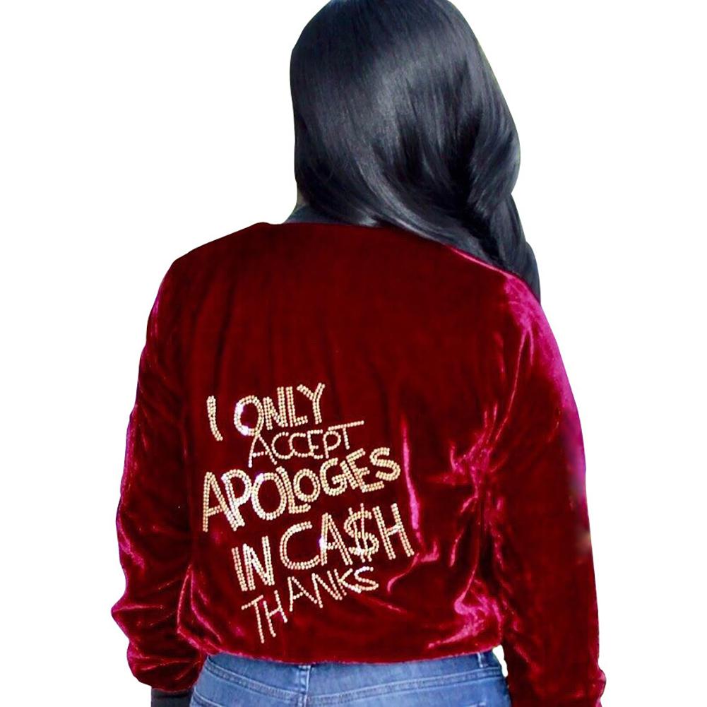 Women Sexy Red Zipper Jacket Coat Casual Long Sleeve Back Letter Jacket Women Outwear Short Jackets