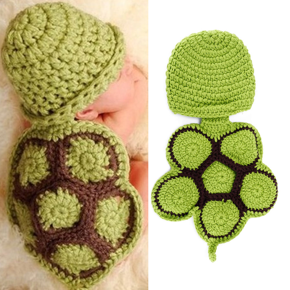 Baby Girl Boy Cute Tortoise Animal Hat And Toddler Sexy Shorts With Shell Tails Clothing Set Green Photography Props