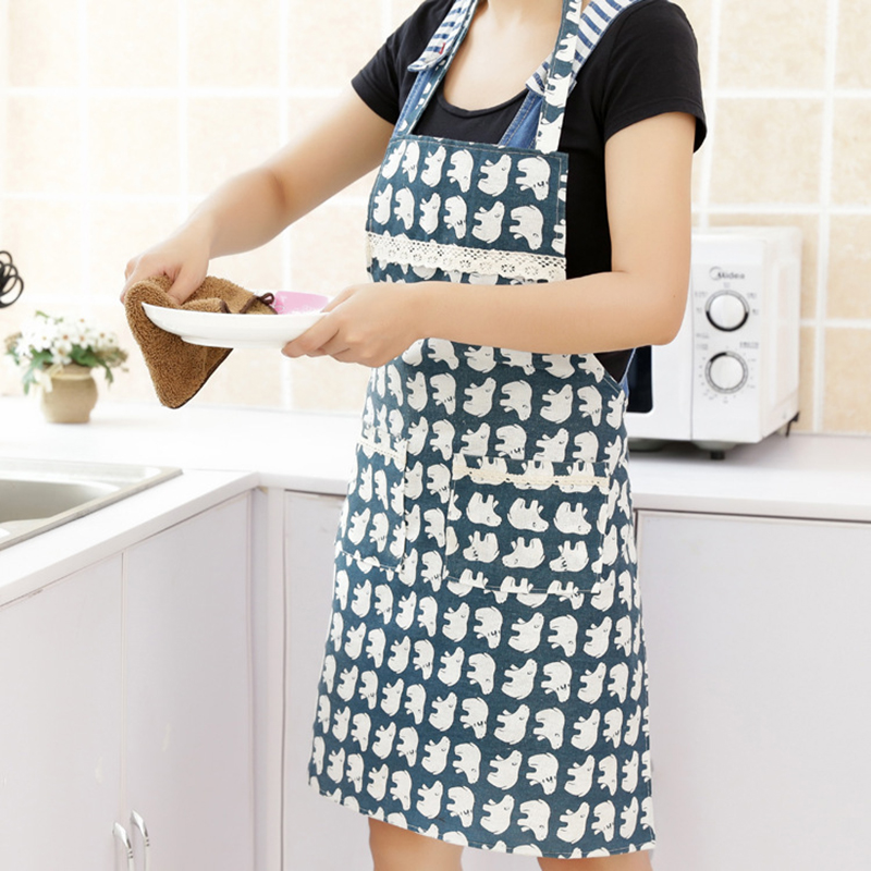 Cotton Linen Kitchen Bib Apron Printed Unisex Cooking Aprons Dining Room Barbecue Restaurant Pocket