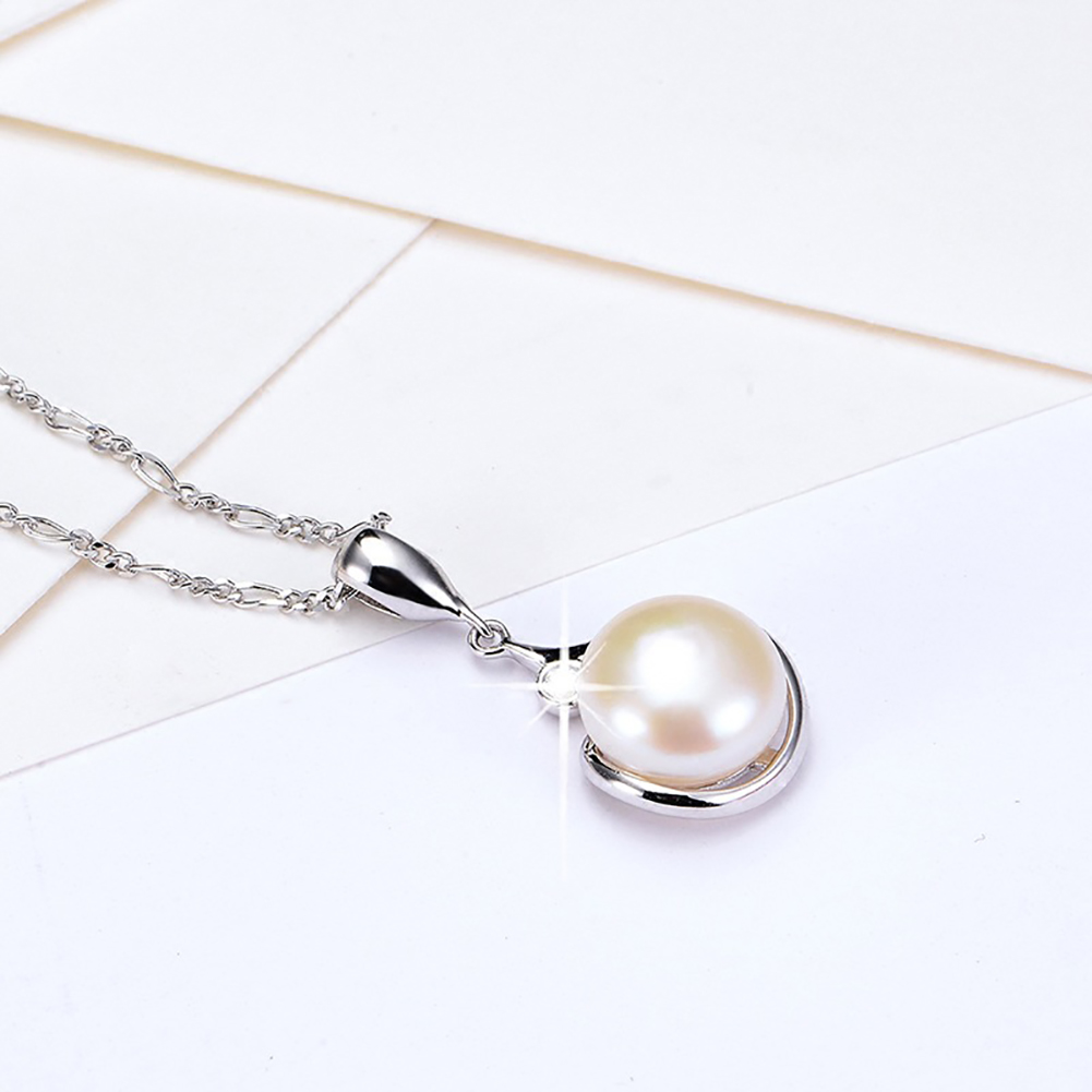 10mm Pearl Rhinestones Pendant Silver Chain Necklace Women's Fashion Christmas Jewelry Gift