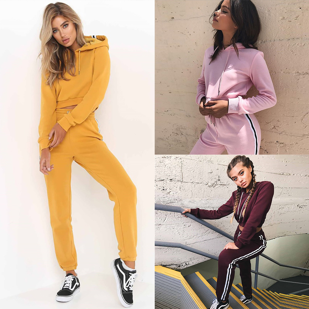 3 Color Style 2pcs Long Sleeve Hoodie + Yoga Pants Set Workout Fitness Gym Running Sportwear