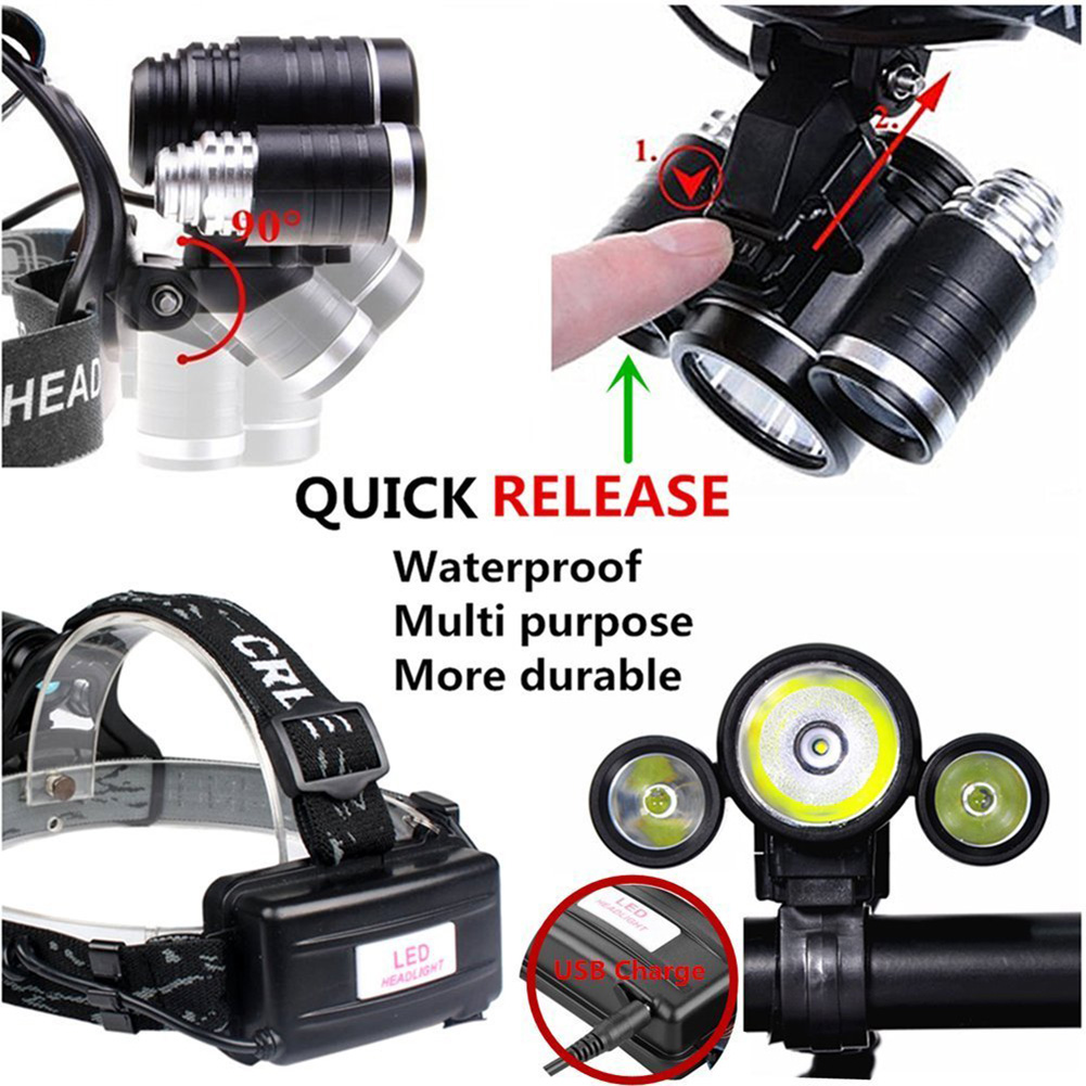Waterproof LED Headlamps 3 Xm-l T6 4 Modes Outdoor Sports Hiking Riding Fishing Head Flashlight