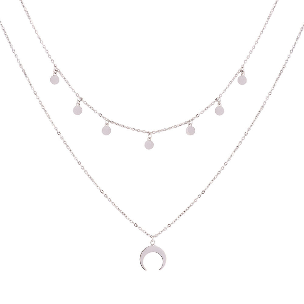 Charming Choker Necklace 2 Layer Moon Pendant Silver Chain Women's Fahsion Jewelry Gift
