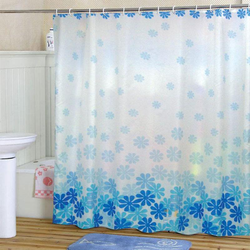 Classic Flower Pattern Bathroom Fabric Shower Curtain Pretty