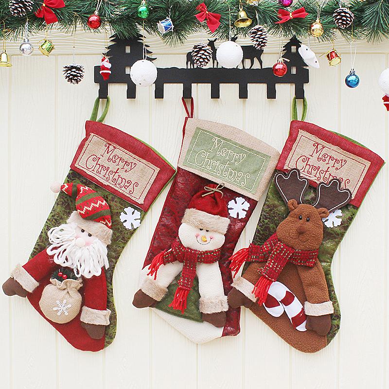 Christmas Socks Santa Claus Christmas Stocking Knifes Folks Bag Candy Gifts Bag