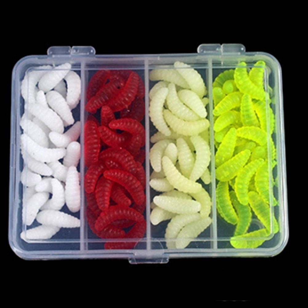 100pcs Fishing Bait Worm Lures Style Fishing Bait Realistic Cute Mealworms