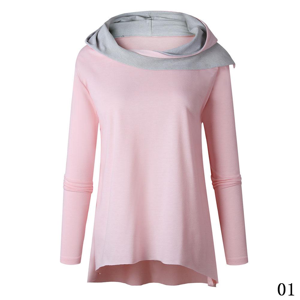 Womens Long Sleeve Hoodie Sweatshirt Jumper Hooded Pullover Tops Blouse Coat