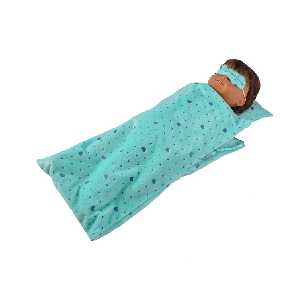 Cute Doll Sleeping Bag Pillow Eyeshade Set for 18 Inch America Doll Gift