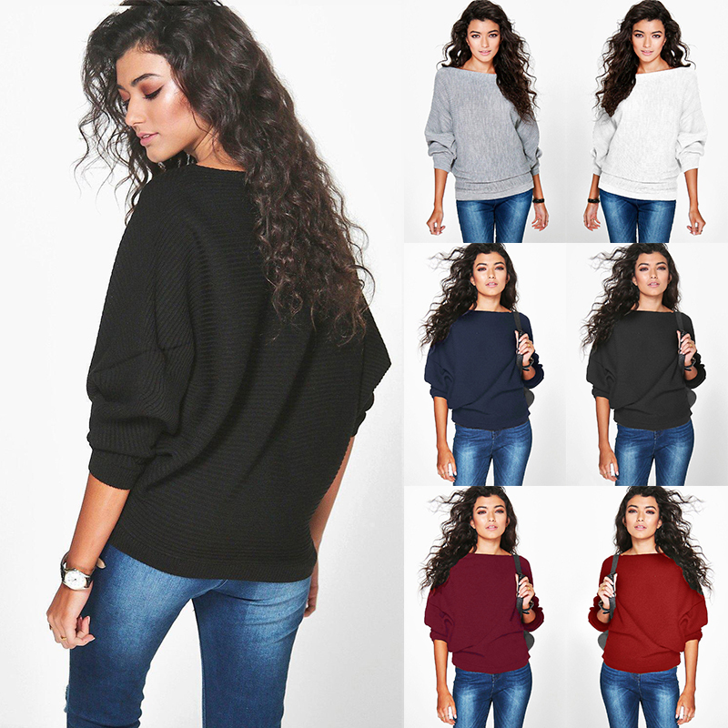 Fashion New Women Loose Knitted Batwing Sleeve Jumper Sweater Ladies Casual Knitwear Tops