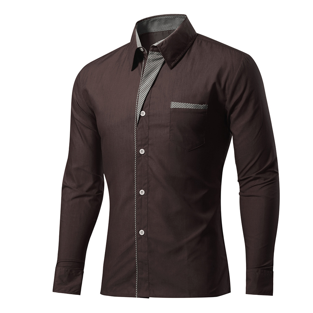 New Mens Casual Slim Fit Long Sleeve Casual Dress Shirts Autumn Winter Outwear Plus Size