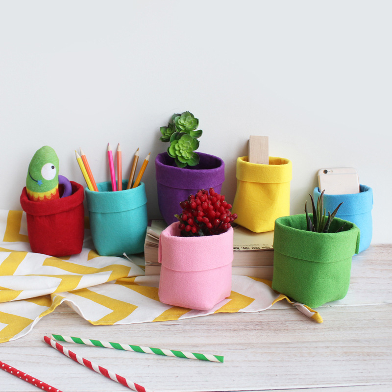 Color Multi-function Felt Desk Stationery Storage Box Storage Bag