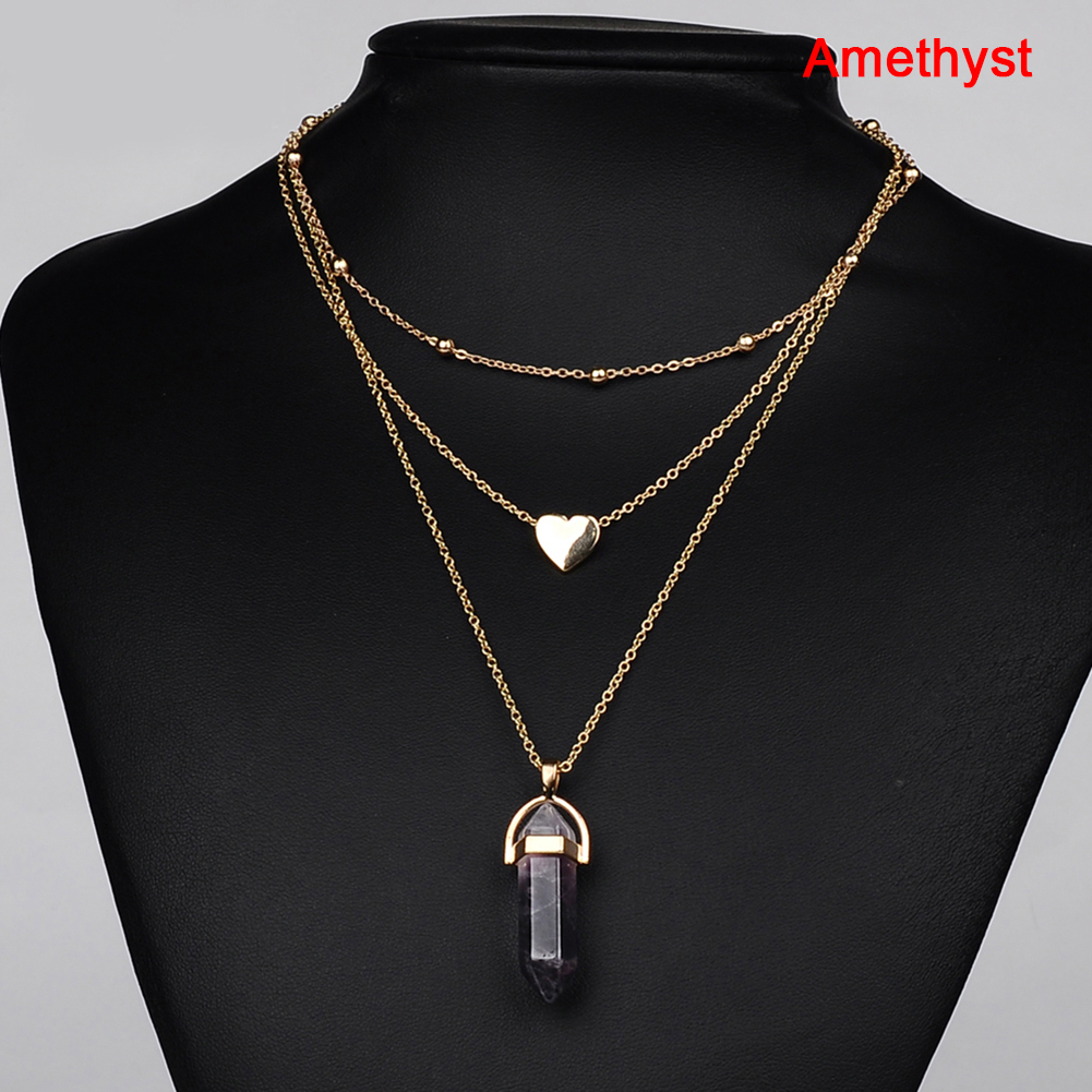 Women Crystal Opal Natural Stone Heart Pendant Necklace Gold Plated 3 Layer Chain Choker Jewelry