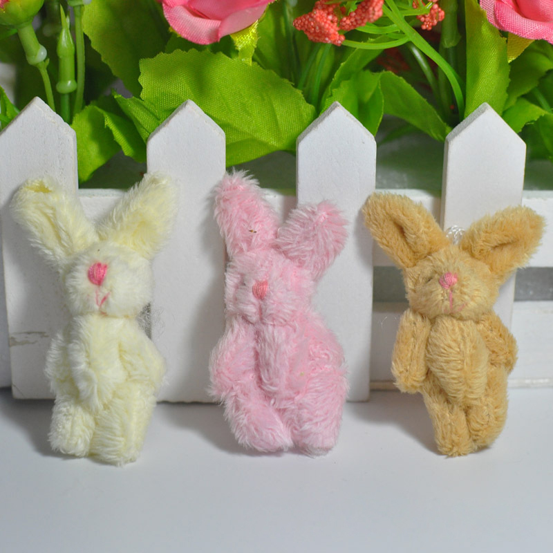 4Pcs/Set Cute Soft Mini Joint Rabbit Pendant Plush Bunny For Key Chain Bouquet Toy Doll DIY Ornaments Gifts