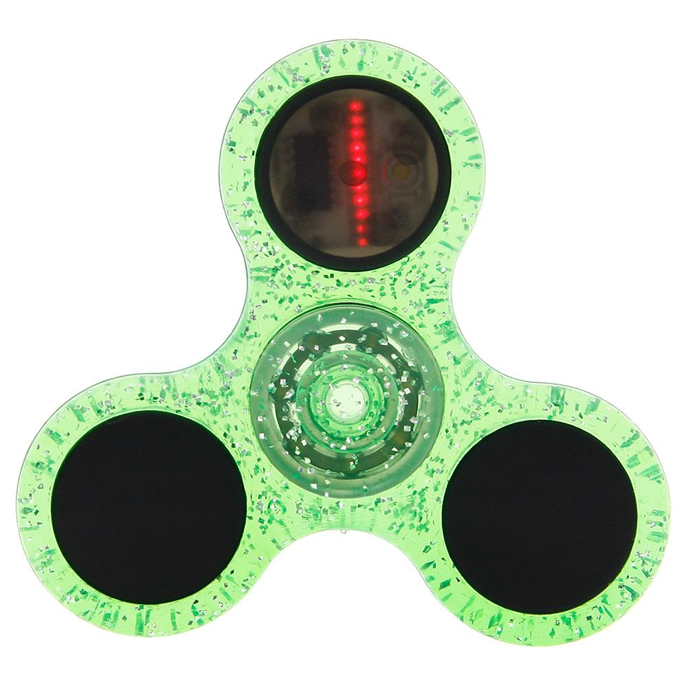 LED Flash Letters Light Crystal Fidget Hand Spinner Finger Toy EDC Focus Gyro Adult kids