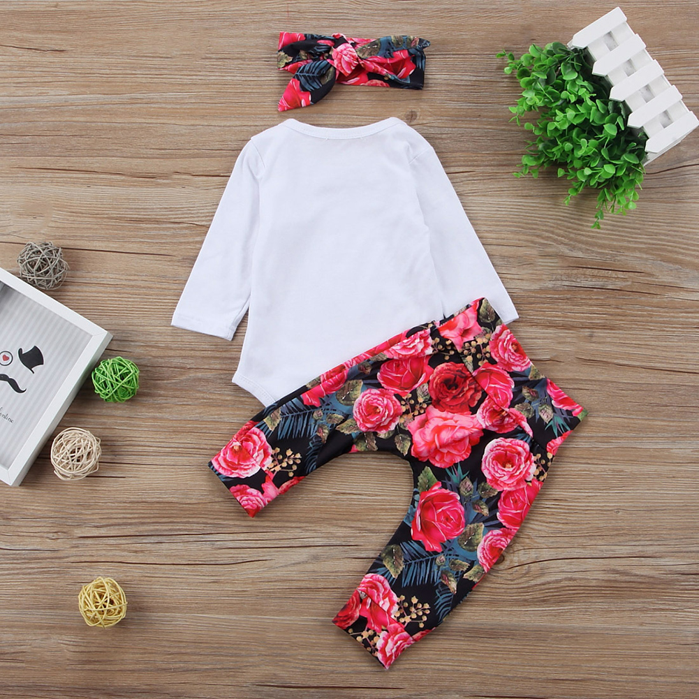 3pcs Baby Girls Little Sister Bodysuit Tops Floral Pants Bowknot Headband Romper Long Pants Outfits Set