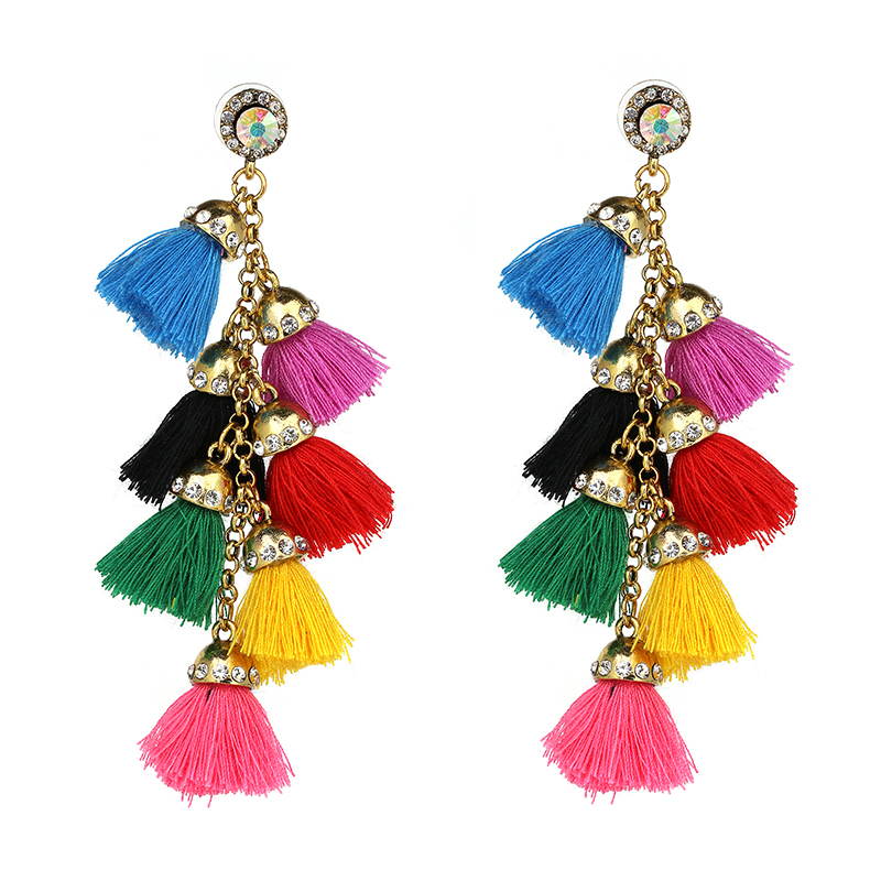 1 Pair Bohemian Colorful Long Tassel Dangle Earrings Bells Ear Stud Womens Jewelry Gift