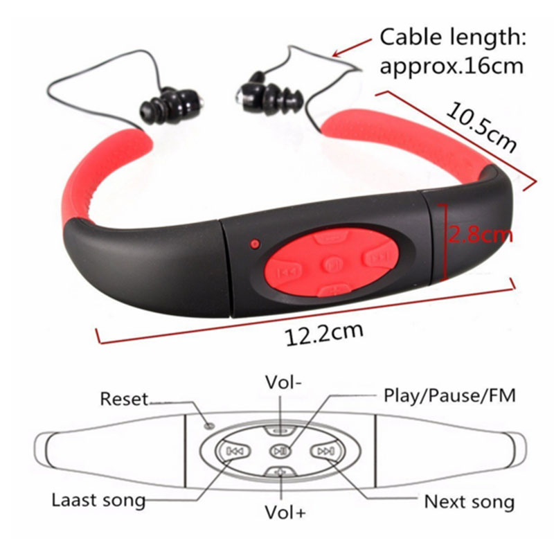 Waterproof Sport MP3 Player In Ear Headphone For Swimming Surfing Diving 4G/8G