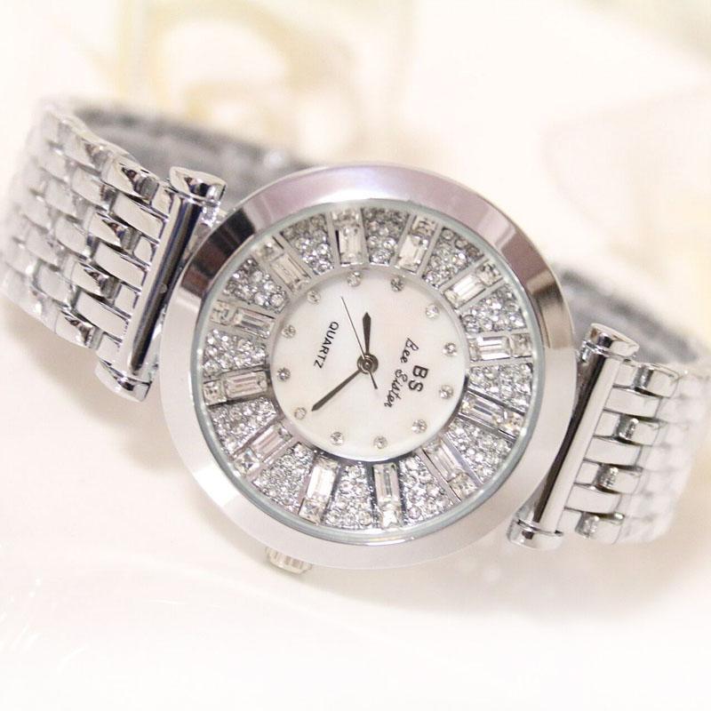 New Luxury Fashion Women Rhinestone Crystal Dial Analog Quartz Bracelet Wrist Watch & Box