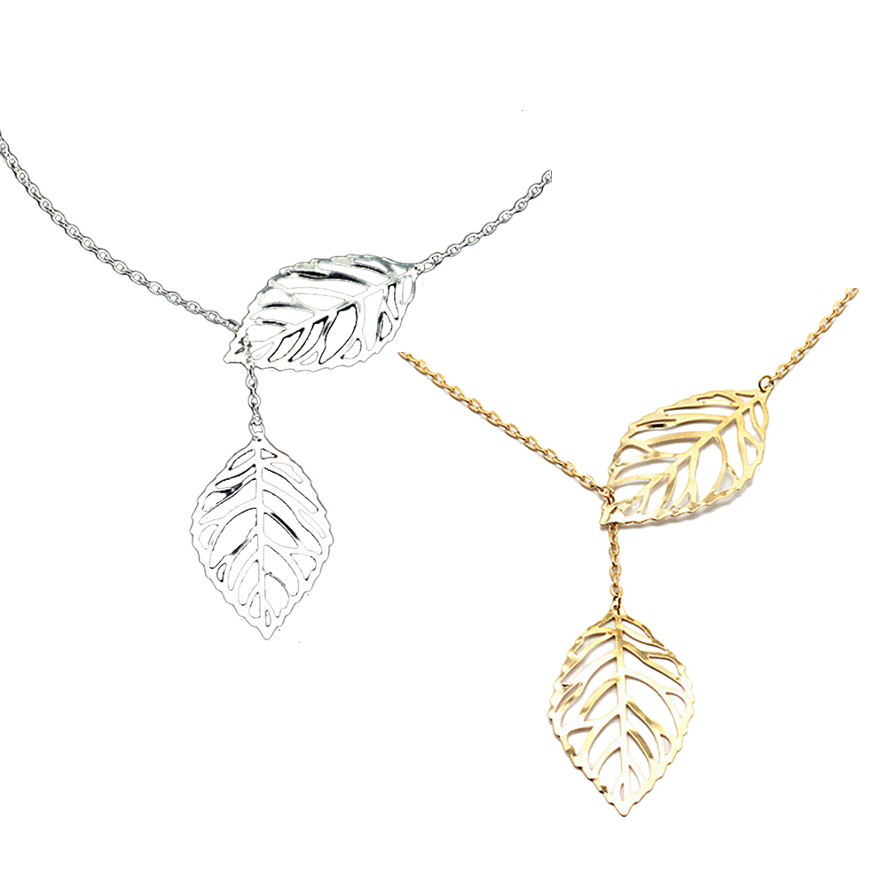 Fashion Gold Silver Plated Chain Necklace Leaf Casual Beads Long Strip Pendants Gifts Women Necklaces Jewelr