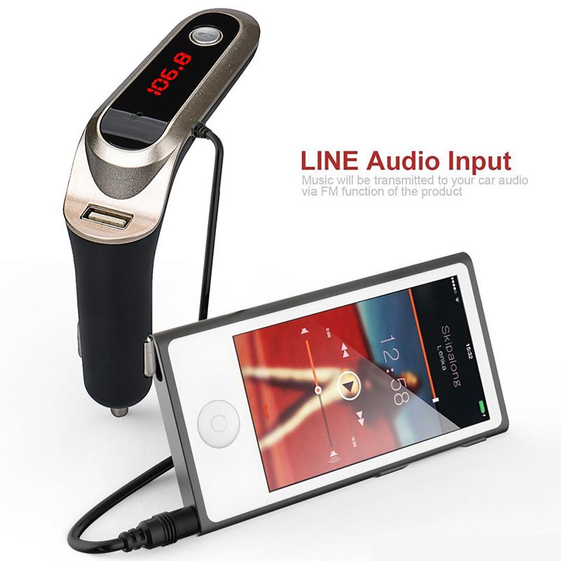 Intelligent Charger Bluetooth Car Kit Handsfree FM Transmitter Radio MP3 Player USB Drive S7