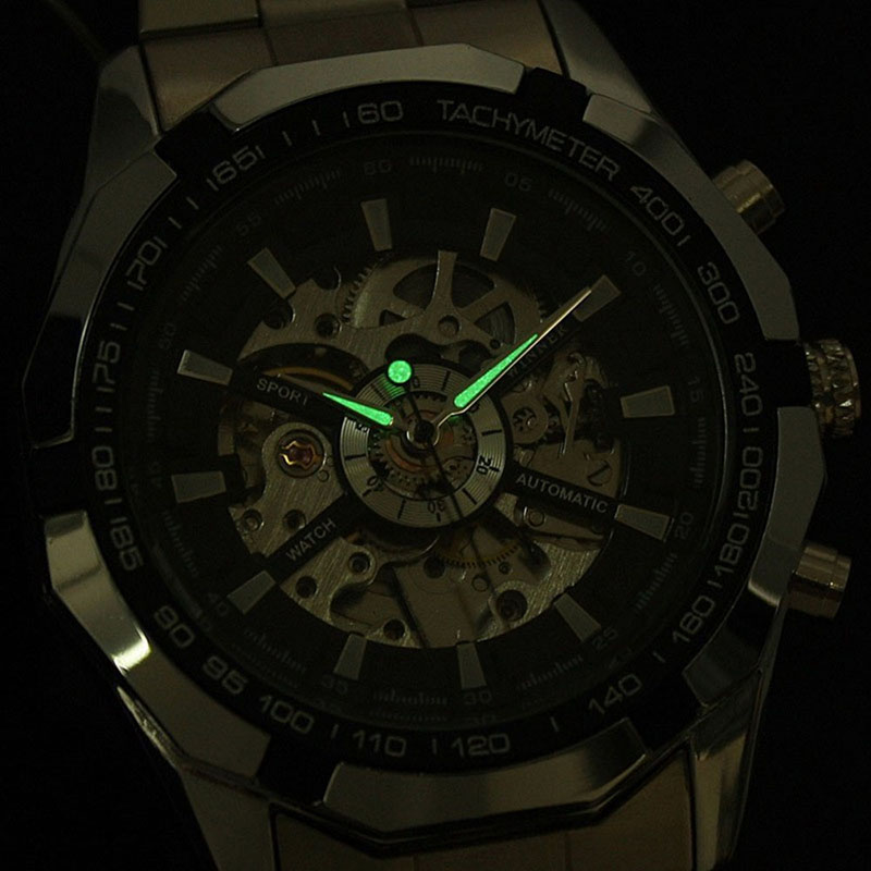 WINNER Brand Men Luminous Automatic Mechanical Business Watch Stainless Stain Skeleton Military Wristwatch