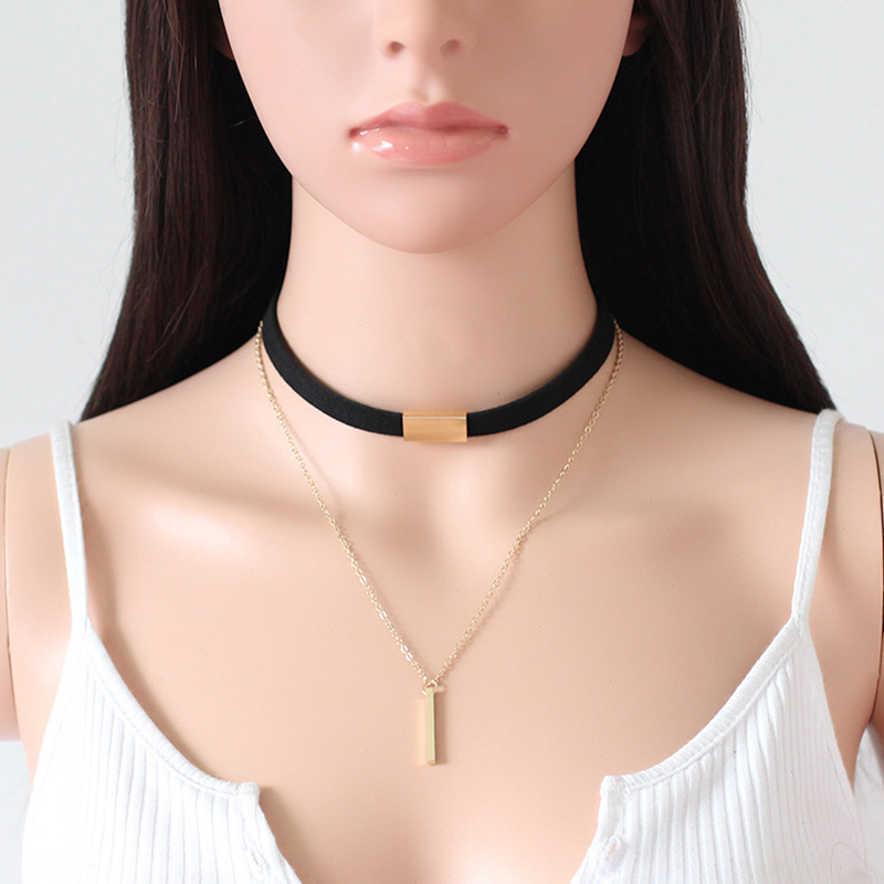 New Velvet Gold Silver Chain Bar Pendant Choker Collar Necklace Charm Women Jewelry